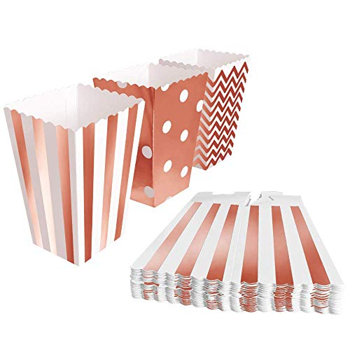 BangShou 60pcs Cajas de Palomitas Cartón Caramelo Contenedor Cine Pequeñas Cajas de Palomitas de Maíz 12 x 7.5cm (Oro Rosa)
