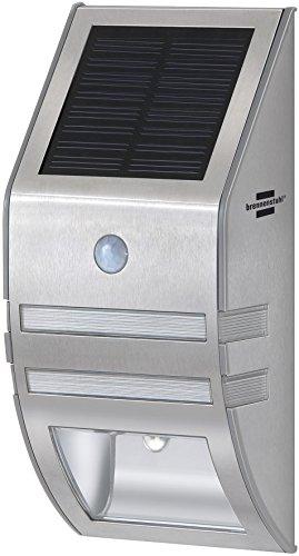 Brennenstuhl LED-Wand- und Pfostenleuchte / Außenleuchte mit Bewegungsmelder (Wandleuchte außen IP44 mit 2 LEDs, 30 Lumen + Akku) silber