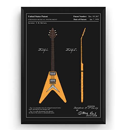 Guitarra Electrica Poster de Patente - Flying V 1958 - Colou
