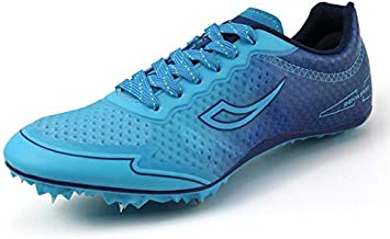 Mens Womens Track and Field Shoes Spikes Track Race Jumping Sneakers Professional Running Nail Spikes Shoes for Kids (11 M US,Blue)