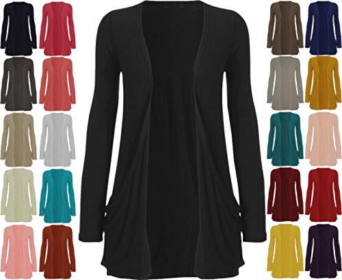 Cardigan für Damen, tiefe Taschen, lange Ärmel, lässiger Stil, Gr. SM/ML / 36-42, schwarz