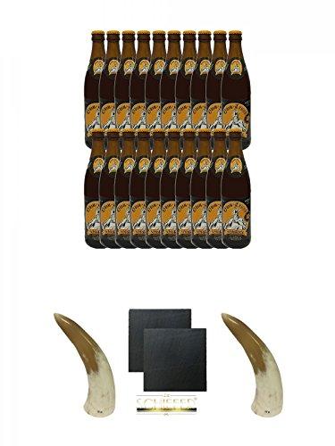 Odin Trunk Honigbier 20 x 0,5 Liter Deutschland + Behn Trinkhörner 0,1 Liter 1 Stück + Schiefer Glasuntersetzer eckig ca. 9,5 cm Ø 2 Stück + Behn Trinkhörner 0,1 Liter 1 Stück