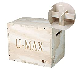 U-MAX Wood Plyo Box 3 in 1 for Crossfit Jump Training and Conditioning Plyometric Box for Crossfit Training