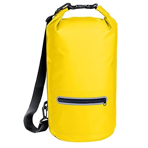 CYzpf Bolsa Estanca Impermeable Mochila Cremallera Portátiles Dry Bag Exterior Accesorios de Viaje para Camping Kayak Playa Deportes Rafting Acampada y Pesca,Yellow,10L