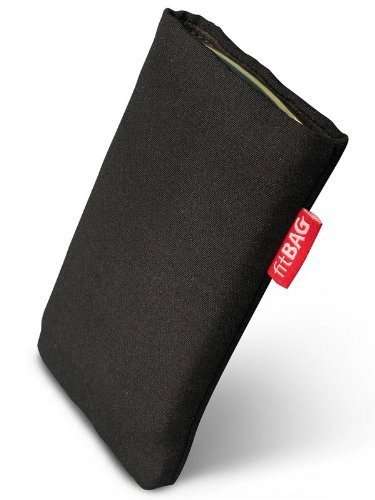 fitBAG Rave Schwarz Handytasche Tasche aus Textil-Stoff mit Microfaserinnenfutter für ASUS M930