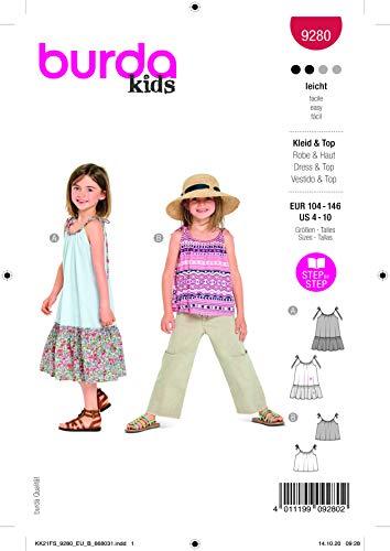 Burda 9280 Schnittmuster Kleid und Top (Kids, Gr. 104-146) Level 2 leicht