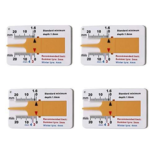 SNOWZAN 4 pcs reifenprofiltiefenmesser 20 mm Tiefe reifenprofiltiefenmesser Vernier Tiefenmessschieber Rad Measure Tool Profiltiefenmesser Reifenprofil Tiefenmesser Tiefenmessgerät für Motorrad LKW