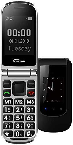 YINGTAI T09 Teléfono Móvil de Tapa con Teclas Grandes para Mayores con SOS Botones (Negro)