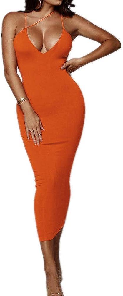 Joywish Women's Sexy Cutout Spaghetti Strap Cami Dress Club Night Out Cleavage V-Neck Bodycon Midi Club Dresses