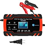 YONHAN Car Battery Charger 12V/8A 24V/4A Intelligent Automatic Battery Charger/Maintainer with LCD Screen Pulse Repair Charger Pack for Car Truck Motorcycle Lawn Mower Boat etc