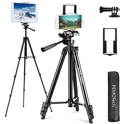 "PEMOTech Tripod Compatible for Phone/Ipad, 50"" Adjustable Aluminum Camera Tablet Phone Tripod Stand + Wireless Remote + 2 in 1 Mount Holder for Smartphone, Tablet, Compatible for Gopro Sports Camera"