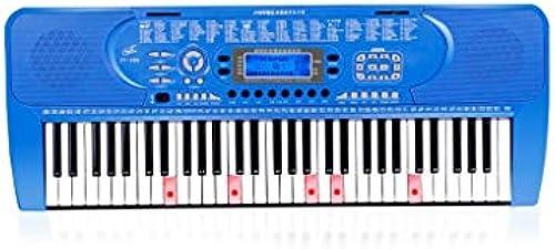 HXGL-Tastatur Kinder E-Piano Anf er Erste Schritte mädchen 61-Tasten-Klavier Erwachsene Professionelle Hausklavier mit Mehreren Funktionen (Farbe   Blau, Größe   B)