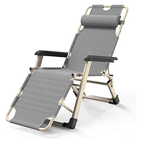 Sedie a sdraio e poltrone reclinabili Grigio pieghevole regolabile Sun Lounemer Chair Garden Sunbed Recliner per la piscina sulla spiaggia ( Color : Without cushion Grey , Size : 178x52x25cm )