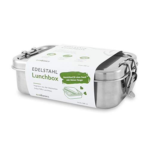 ecoBasics® Edelstahl Brotdose | 500 ml Inhalt | Inkl. Ersatzdichtung | Auslaufgeschützt & Plastikfrei | Formschönes Design mit mattierter Oberfläche | Ideal z.B. für Snacks oder Pausenbrote