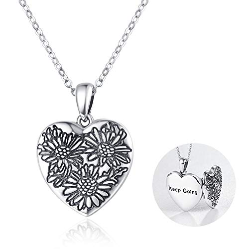 Locket Necklace 925 Sterling Silver Daisy Locket Necklace Love Heart Pendant'Keep Going' Birthday Gifts For Women Girls