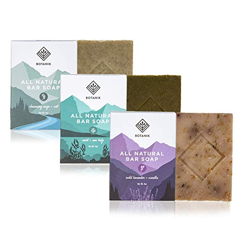 Botanik Organic Bar Soap - Handmade - Natural Soap Bar Gift Pack - Vegan - Eco-Friendly - Plastic-Free - Cold Process Soap - 3 Bars, 4oz. each