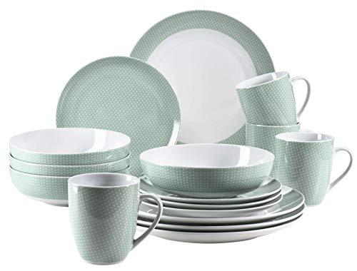 MÄSER 931565 Kitchen Time II Geschirr-Set für 4 Personen, 16-tlg Kombiservice in Pastellgrün mit dezentem Muster, Porzellan