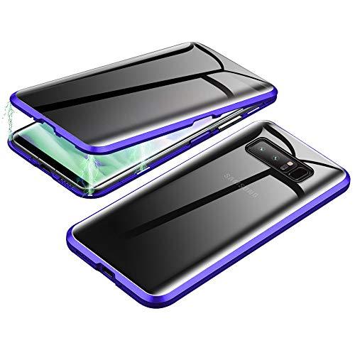 Jonwelsy - Funda para Samsung Galaxy Note 8, protección de 360 grados, protección de privacidad de vidrio templado, antiarañazos, fuerte absorción magnética, marco de metal para Note 8