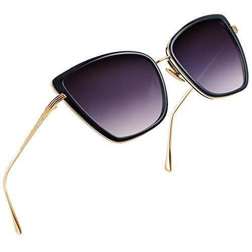 Joopin Occhiali da Sole da Donna Grande Occhio di Gatto Retro Vintage Specchiati Stile Occhiali Quadrato Protezione UV400 (Lenti Neri)