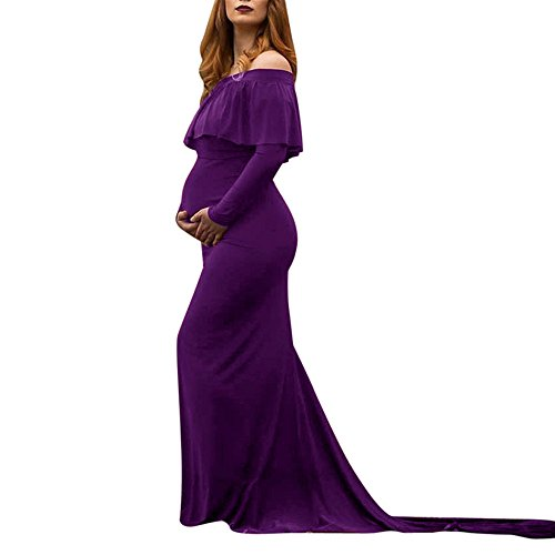 STRIR Vestido de Maternidad Mujer Fiesta Largos Boda Mujer Embarazada Encaje Floral Foto Shoot Vestidos Faldas Fotográficas de Maternidad Apoyos de Fotografía Playa (L, Púrpura)