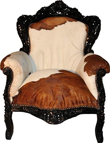 Casa Padrino Barock Sessel King mit Kuhfell 85 x 85 x H. 120 cm - Limited Edition