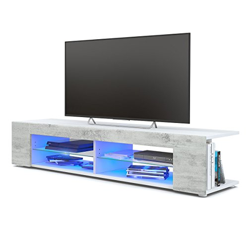 Vladon Meuble TV Armoire Basse Movie, Corps en Blanc Mat/Façades en Aspect Béton Oxyde avec l'éclairage LED en Bleu