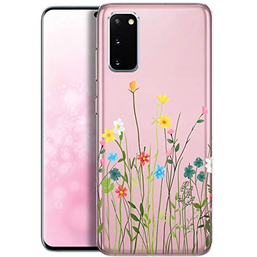 Fundas para iPhone QULT Compatible con Samsung Galaxy S20 – Funda de Silicona Transparente con Lindos Motivos – Fundas iPhone Ultra Finas Prado de Flores