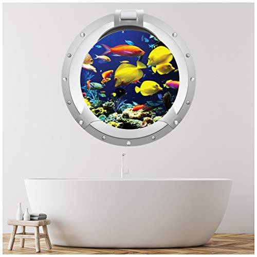azutura Tropical Fish Porthole Wall Sticker 3D Sea Ocean Wall Decal Kids Bathroom Decor available in 8 Sizes X-Small Digital