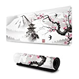 Japanese Pagoda and Cherry Blossom Sakura Branch Gaming Mouse Pad...