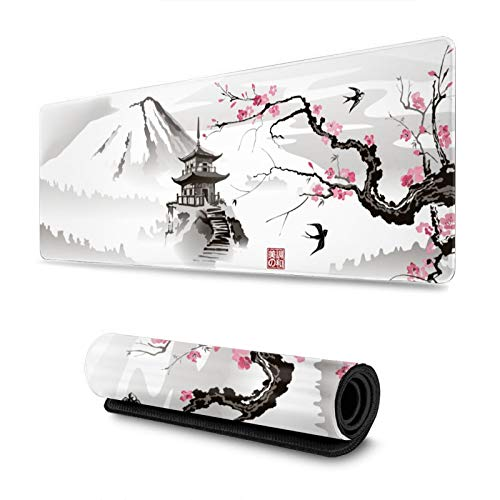 Japanese Pagoda and Cherry Blossom Sakura Branch Gaming Mouse Pad XL, Extended Large Mouse Mat Desk Pad, Stitched Edges Mousepad, Long Non-Slip Rubber Base Mice Pad, 31.5 X 11.8 Inch