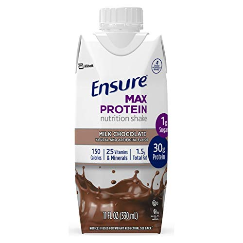 Ensure Max Protein Nutrition Shake with 30g of protein, 1g of Sugar, High Protein Shake, Milk Chocolate, 11 fl oz, 12 Count