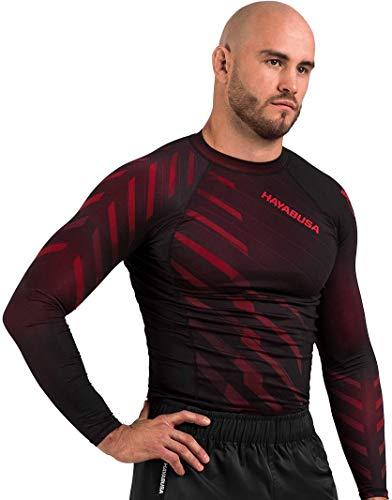 Hayabusa Metaru Long Sleeve Jiu Jitsu Rashguard - Red, Large