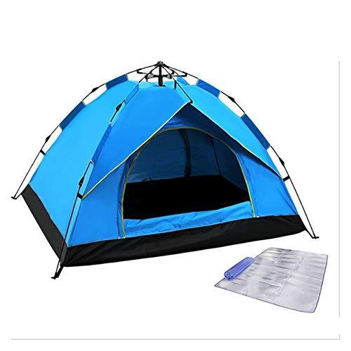 Azul Pop Up Family Family Camping Tienda con almohadilla a prueba de humedad, 4 persona Tienda portátil Tienda instantánea portátil Tienda automática Impermeable a prueba de viento para camping Sender