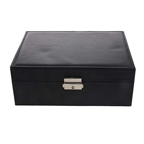 La Caja de Almacenamiento Doble Puede Poner el Anillo, el Collar, los Pendientes, la joyería, la PU, la Caja de Almacenamiento, los vidrios, la Caja de presentación del Reloj