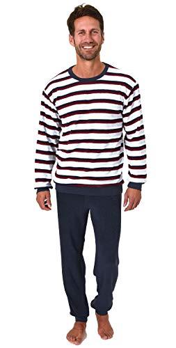 Edler Herren Frottee Pyjama Schlafanzug mit Bündchen in Streifenoptik - 291 101 13 788, Größe2:50, Farbe:rot
