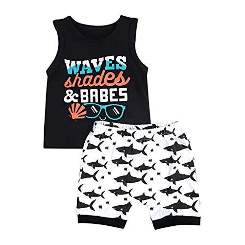 Tyoby Baby Kurzarm T-Shirt Drucken +Cartoon-Shorts Mode Zweiteiliges Set Freizeitanzug Kindermode Babykleidung Klassisch Schnitt Stil(SchwarzA,90)
