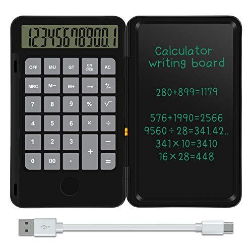 NEWYES 12-stelliger Taschenrechner (mit USB Aufladen) Klein Rechner mit 6,5 zoll Schreibtafel für Rechnen& Notizen,Schwarz
