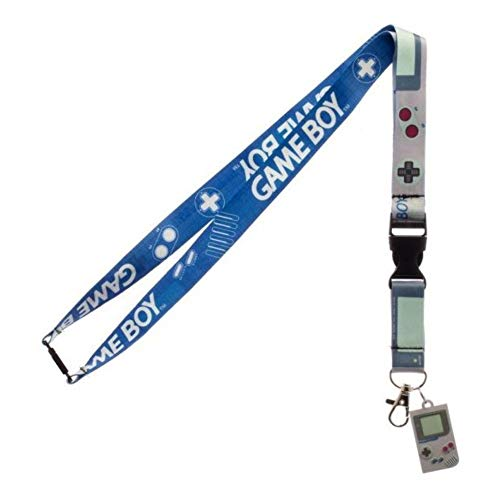 Nintendo Game Boy Reversible Breakaway Keychain Lanyard with ID Holder, Rubber Charm and Collectible Sticker
