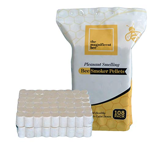 108 Pieces The Magnificent Bee Smoker Pellets, 108 Pack, Natural Hive Beekeeping and Beekeeper Accessories for Honey Bees, Clean and Natural Burning, Pleasant Smell for Outdoor Use | USA Brand