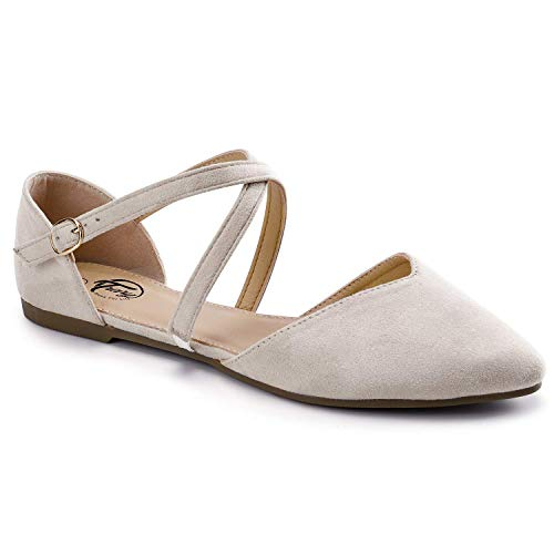 Trary Women's D'Orsay Criss Cross Strap Ballet Flat Shoes Nude 08