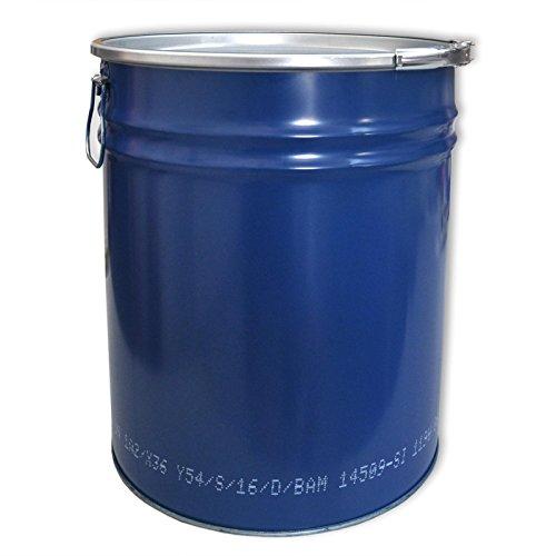 sicon Stahlfass 30 Liter Hobbock Deckelfass Metall Blechfass Mülleimer Behälter Kübel mit 2 Seitlichen Fallgriffen | Zyklon Staubabsaugung Geeignet | Stabil und gefüllt Stapelbar