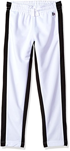 Southpole Boys' Big Athletic Track Pants Open Bottom, White, Large