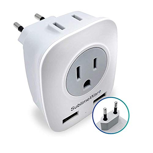 European Power Adapter w/ 2 USB Ports & 2 AC Outlets - USA to EU Outlet Plug - US to Europe Plug Adapter - Electrical Charger Travel Adapters for Europe from US Japan China by SublimeWare