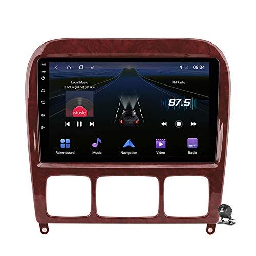 Android 9.0 Radio estéreo para automóvil compatible con Mercedes Benz Clase S W220 1998-2005 Navegación GPS Unidad principal de pantalla táctil de 9 pulgadas Reproductor multimedia MP5 Video con 4G W