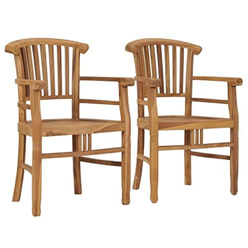 FAMIROSA Garden Chairs 2 pcs Solid Teak Wood-9432