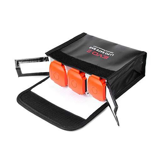 Leepesx Reemplazo para Autel EVO II Drone Batería de LiPo portátil Bolsa de Almacenamiento de Seguridad Resistente al Calor Almacenamiento Resistente al Fuego 3 batería Bolsa de protección
