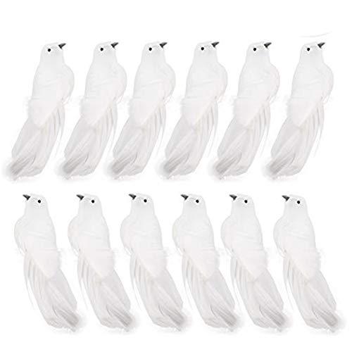 LAMF Künstliche Taube Vogel mit Feder 12er Set Deko Fake Tauben mit Clips Weiß Vögel Weihnachten Ornamente für Hochzeit Dekoration Party Zubehör