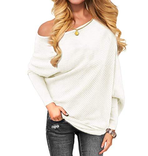 OmicGot Women's Off Shoulder Sleeve Loose Pullover Batwing Sweater Knit Jumper White L