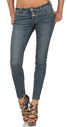 Sublevel Damen Slim Leg Stretch Jeans LSL-338/LSS-087 Röhre mit sichtbarer Knopfleiste, schmales Bein Dark Blue Denim L