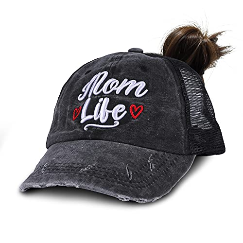 3D Embroidered Mom Life Baseball Cap Pony Tail Women Low Profile Denim Trucker Hat Mesh Dome Adjustable One Size